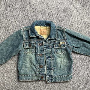 Levi's Baby Jean Jacket Rugged Blue Tan Distressed